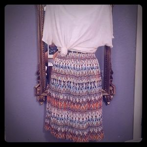 Womens white T shirt and colorful skirt